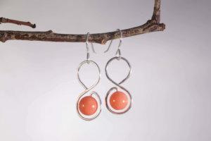 Boucles d'oreilles Infini avec perles Bambou de Mer
