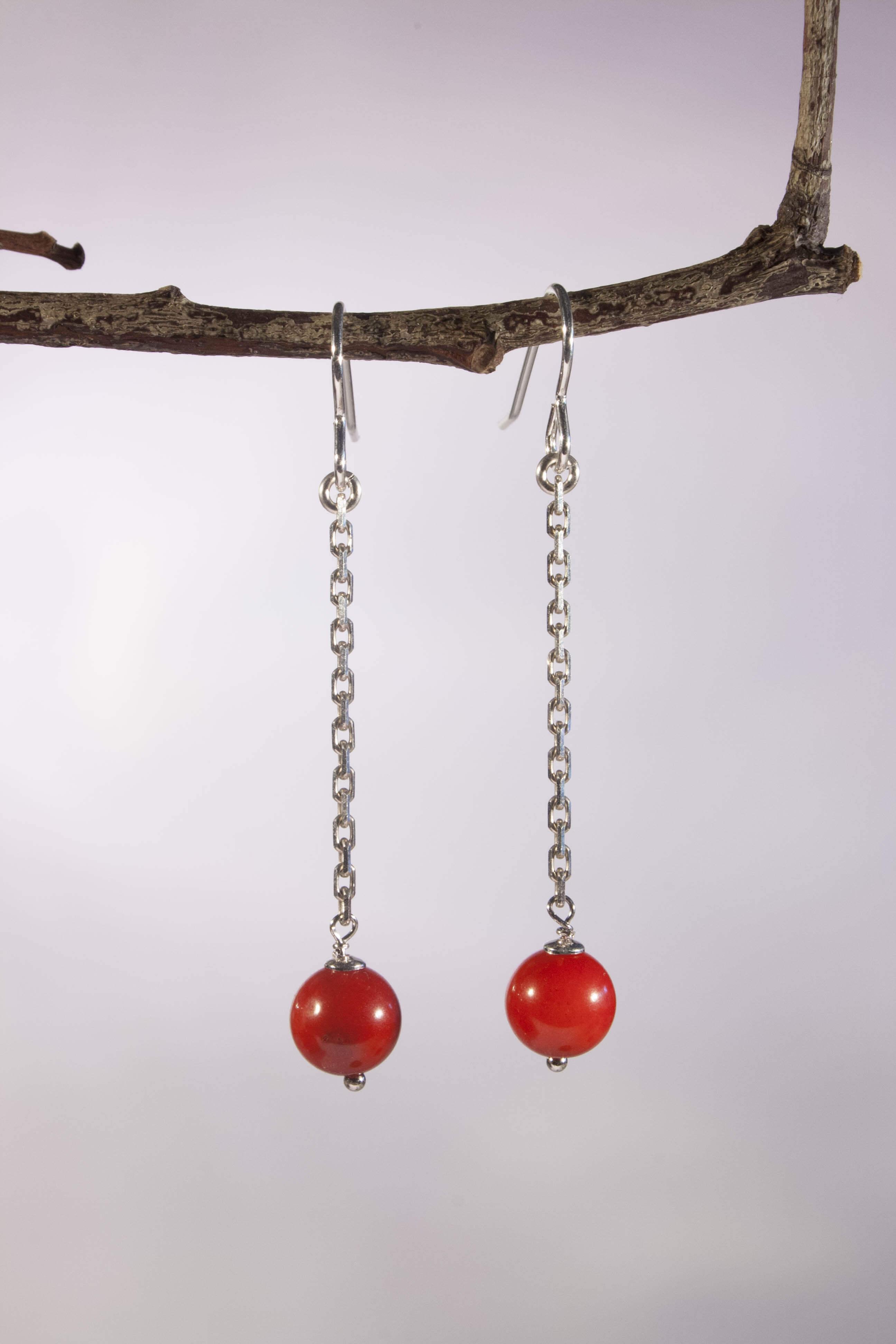 boucles d oreilles long color agate rouge de fil et d 39 argent. Black Bedroom Furniture Sets. Home Design Ideas