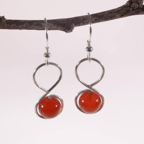 Boucles d'Oreilles Infini Agate Rouge