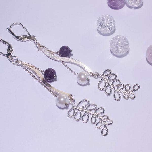 Boucles d'Oreilles Plume Améthyste et Perle Nacrée