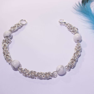 Bracelet royal howlite pierre naturelle maille royale byzantine
