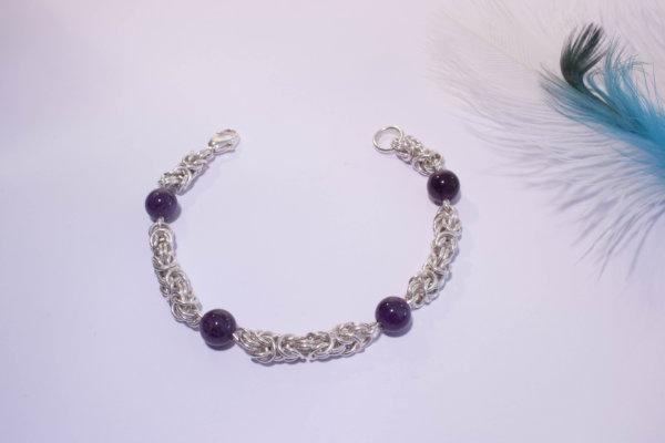 Bracelet royal améthyste pierre naturelle maille royale byzantine
