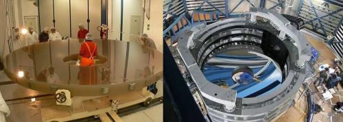 Le miroir de 4,10 m du télescope Vista avant et après avoir été recouvert d'une fine pellicule d'argent.